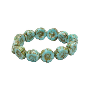 Czech Glass 9mm Hibiscus Flower Beads - Turquoise Silk with Picasso Finish