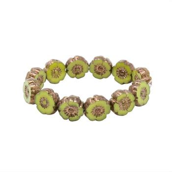 Czech Glass 9mm Hibiscus Flower Beads - Lime Green Silk with Bronze Finish