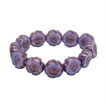 Czech Glass 9mm Hibiscus Flower Beads - Lilac Purple Satin with Bronze Finish