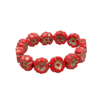 Czech Glass 7mm Hibiscus Flower Beads - Opaque Bright Red with Gold Wash