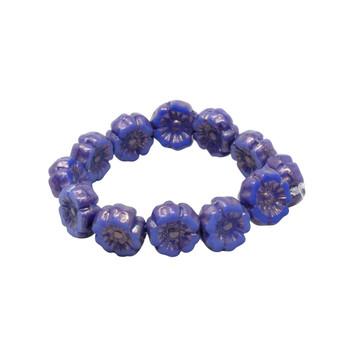 Czech Glass 7mm Hibiscus Flower Beads -Royal Blue Silk with Bronze Wash