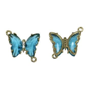 Gold Micro Pave Blue Butterfly Link Charm
