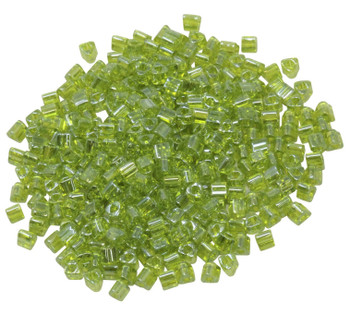 Size 8 Toho Triangle Seed Beads -- Transparent Lime Green Luster