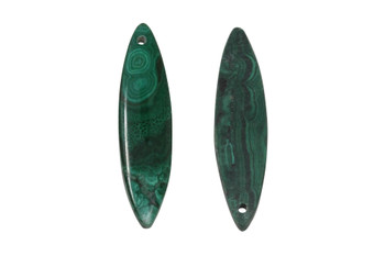 Malachite Polished 10x40mm Hose Eye - Sold as Set