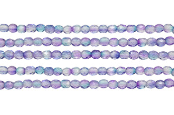 Fire Polish 4mm Faceted Round - Dual Coated - Pink/Blue