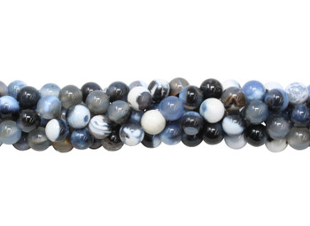 Fire Agate Polished 8mm Round - Black / Blue