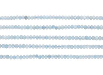 Aquamarine Polished 2.5x4mm Faceted Rondel