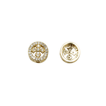 Gold 9mm Micro Pave Cross Coin Bead