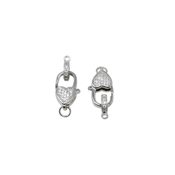 Rhodium Plated 10x16mm Micro Pave Heart Clasp and Ring