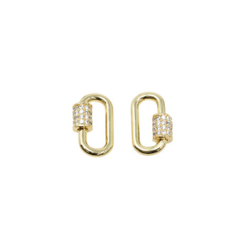 Gold Micro Pave 10x17mm Carabiner