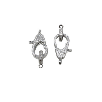 Rhodium Plated Micro Pave 10x16mm Clasp and Ring