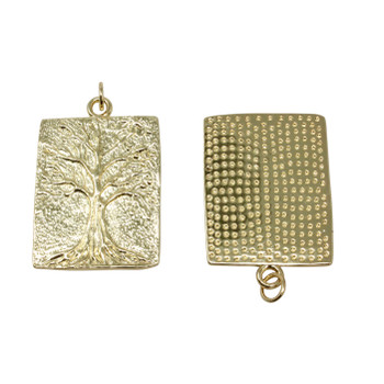 Gold Micro Pave 21x27mm Tree of Life Pendant