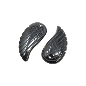 Black Onyx Polished 22x32mm Wing Pendant