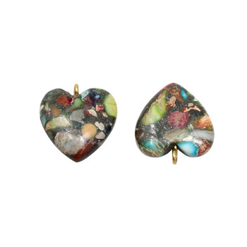 Reconstructed Impression Jasper Polished 20x25mm Heart Pendant