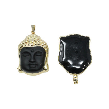Glass Black Buddha Head Pendant