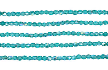 Fire Polish 4mm Faceted Round - Teal AB