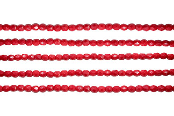 Fire Polish 4mm Faceted Round - Opaque Red
