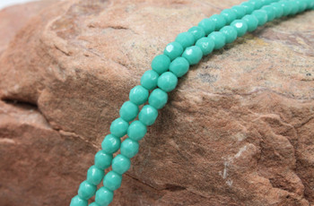 Fire Polish 4mm Faceted Round - Opaque Turquoise