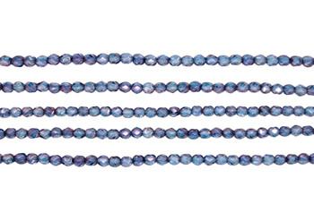 Fire Polish 4mm Faceted Round - Luster - Transparent Denim Blue