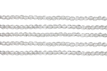 Fire Polish 4mm Faceted Round - Crystal - Silver Lined