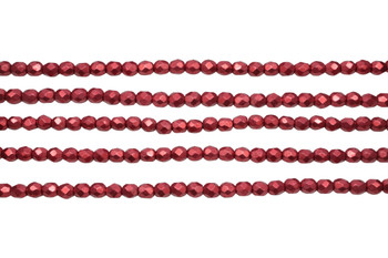 Fire Polish 4mm Faceted Round - Saturated Metallic Cranberry