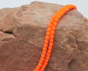 Fire Polish 4mm Faceted Round - Neon Orange
