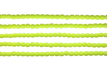 Fire Polish 4mm Faceted Round - Neon Yellow