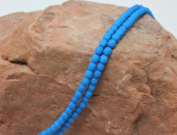 Fire Polish 4mm Faceted Round - Neon Electric Blue
