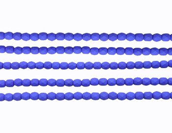 Fire Polish 4mm Faceted Round - Neon Blue