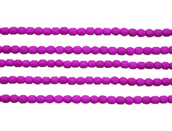 Fire Polish 4mm Faceted Round - Neon Purple