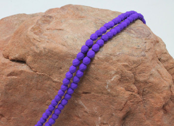 Fire Polish 4mm Faceted Round - Neon Electric Purple