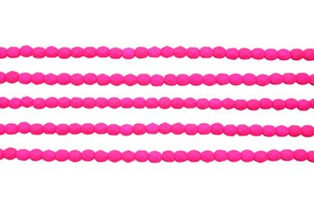 Fire Polish 4mm Faceted Round - Neon Pink