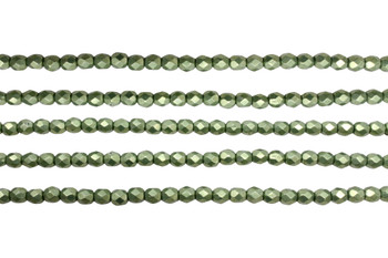Fire Polish 4mm Faceted Round - Sueded Gold - Fern