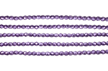 Fire Polish 4mm Faceted Round - Saturated Metallic Grapeade