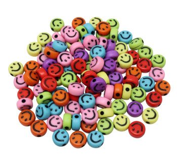 Acrylic Smiley Face 7x4mm Beads - Opaque Mix - Package of 100