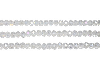 Glass Crystal Polished 5x6mm Faceted Rondel - Transparent Crystal AB