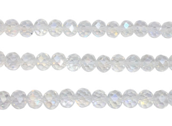 Glass Crystal Polished 8x10mm Faceted Rondel - Transparent Crystal AB