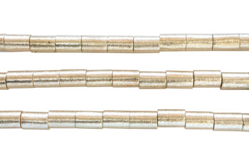 Cylinder 10x15mm Brushed Beads - Light Gold Plated