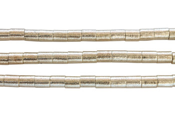 Cylinder 8x10mm Brushed Beads - Light Gold Plated