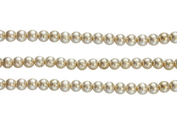 Round 8mm Brushed Gold - Light Gold Plated