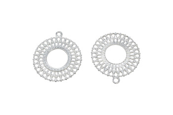 Lacy Ring Pendant 42x37mm - Light Silver Plated