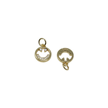 Gold Micro Pave Smiley Face Charm