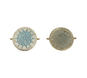 Gold 20mm Blue Sun Micro Pave Link