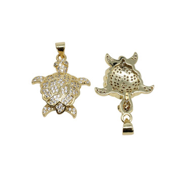 Gold Micro Pave Turtle Charm