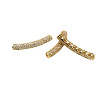 Gold Curved Tube 32x5mm Micro Pave Bead