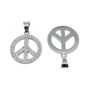 Silver Micro Pave Peace Sign Charm
