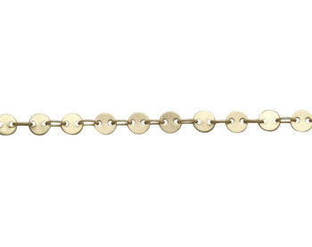 Satin Hamilton Gold 4mm Round Disc Chain - Sold by 6 Inches