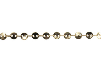 Gold 4mm Round Disc Chain - Sold by 6 Inches
