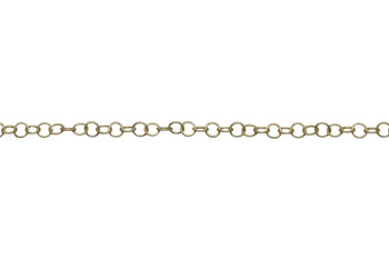 Satin Hamilton Gold 4.2x4mm Fine Round Cable Chain - Sold By 6 Inches