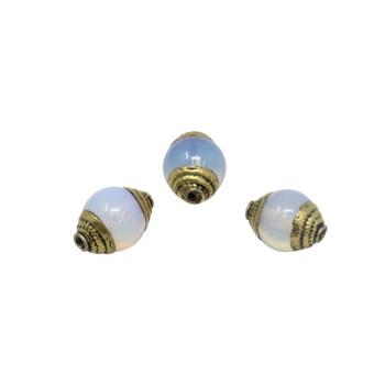 Opalite 10x15mm with Brass Tibetan Cap